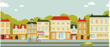 Fondo de la calle del panorama de la ciudad en estilo plano stock de ilustración