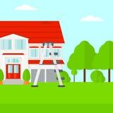 Fondo de la casa con la escalera de paso Imágenes de archivo libres de regalías