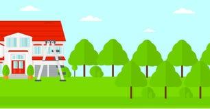 Fondo de la casa con la escalera de paso Fotografía de archivo libre de regalías