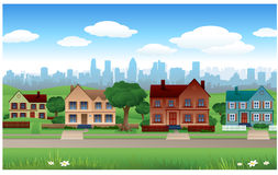 Fondo de la casa del suburbio