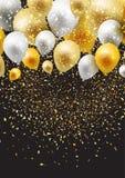Fondo de la celebración con los globos y el confeti libre illustration