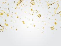 Fondo de la celebración del confeti del oro stock de ilustración
