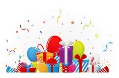 Fondo de la celebración del cumpleaños con los elementos del partido Foto de archivo libre de regalías