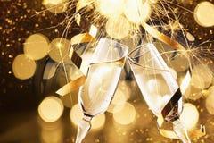 Fondo de la celebración del ` s Eve del Año Nuevo Foto de archivo libre de regalías