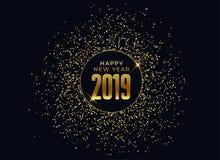 fondo de la celebración de la Feliz Año Nuevo 2019 con brillo y chispas stock de ilustración
