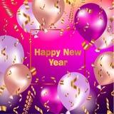 Fondo de la celebración de la Feliz Año Nuevo con los globos y el confeti del oro Foto de archivo
