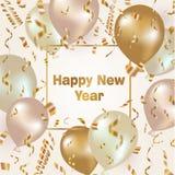 Fondo de la celebración de la Feliz Año Nuevo con los globos y el confeti del oro Fotografía de archivo
