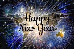 Fondo de la celebración de los fuegos artificiales del mapa del worl de la Feliz Año Nuevo Foto de archivo