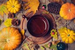 Fondo de la cena de la acción de gracias con la placa Hojas de la calabaza y de la caída de otoño en la tabla de madera Imagen de archivo