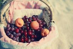 Fondo de la cesta de frutas del vintage Imagenes de archivo