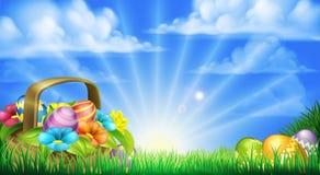 Fondo de la cesta de los huevos de Pascua Imágenes de archivo libres de regalías