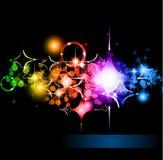 Fondo de la chispa de las estrellas con gradiente del arco iris Imagenes de archivo