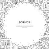 Fondo de la ciencia con la línea iconos de la química Foto de archivo