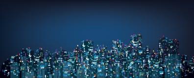 Fondo de la ciudad de la noche del bokeh del vector Imagen de archivo libre de regalías