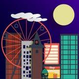Fondo de la ciudad de la noche del vector Foto de archivo libre de regalías