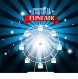 fondo de la ciudad de la noria del funfair del festival del cartel libre illustration
