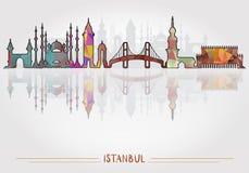 Fondo de la ciudad de Estambul con la silueta del paisaje urbano ilustración del vector