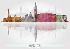 Fondo de la ciudad de Venecia con la silueta del paisaje urbano libre illustration