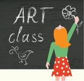Fondo de la clase de arte con el niño y la pizarra Imagen de archivo libre de regalías