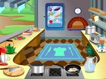 Fondo de la cocina dentro del vector del carro Imagen de archivo