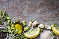 Fondo de la comida con las aceitunas, el aceite, el limón, el ajo, las hierbas y la especia fotos de archivo libres de regalías