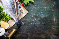 Fondo de la comida con los pescados y el vino Imagen de archivo