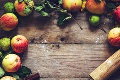 Fondo de la comida, concepto de la caída: manzanas y frontera de la pera Fotos de archivo