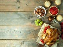Fondo de la comida de la acción de gracias con el espacio Imagen de archivo