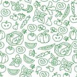 Fondo de la comida de la dieta de las verduras Vector las comidas de la verdura cruda para el modelo inconsútil sano Foto de archivo libre de regalías