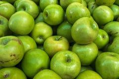 Fondo de la comida de la variedad de manzanas frescas brillantes verdes Imagen de archivo
