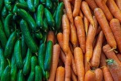 Fondo de la comida de verduras frescas: pepinos brillantes verdes izquierdos, en zanahorias anaranjadas derechas Imágenes de archivo libres de regalías