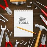 Fondo de la composición de Construction Tools Flat del carpintero Fotos de archivo