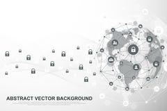Fondo de la conexión de red global Negocio global del concepto cibernético de la seguridad Fondo de la comunicación de Internet ilustración del vector