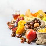 Fondo de la cosecha del otoño de la caída con maíz de la castaña de la manzana de la calabaza Fotos de archivo