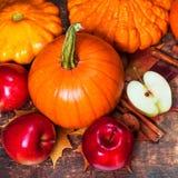 Fondo de la cosecha o de la acción de gracias con las calabazas, las manzanas y fal Fotografía de archivo