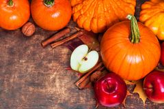 Fondo de la cosecha o de la acción de gracias con las calabazas, las manzanas y fal Imagen de archivo