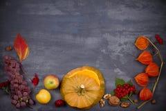 Fondo de la cosecha o de la acción de gracias Concepto de la comida del día de la acción de gracias El otoño da fruto, las verdur Fotografía de archivo libre de regalías