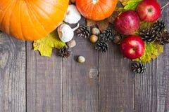 Fondo de la cosecha o de la acción de gracias con las frutas y verduras otoñales Imagen de archivo