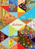 Fondo de la cubierta del otoño con el marco y el sistema de los elementos del collage - modelos, naturaleza Imágenes de archivo libres de regalías
