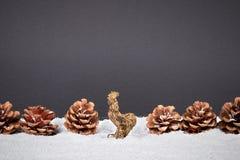 Fondo de la decoración de la Navidad o del Año Nuevo: conos, copo de nieve, r Imagen de archivo