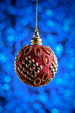 Fondo de la decoración de la Navidad o del Año Nuevo: Juguete rojo o de la Navidad Fotografía de archivo libre de regalías