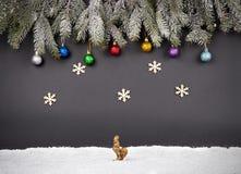 Fondo de la decoración de la Navidad o del Año Nuevo: ramas del piel-árbol, Foto de archivo libre de regalías