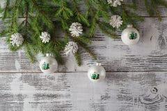 Fondo de la decoración de la Navidad o del Año Nuevo: ramas del piel-árbol, Fotos de archivo