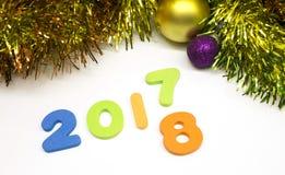 Fondo 2018 de la decoración del número de la Feliz Año Nuevo Imagen de archivo libre de regalías