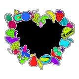 Fondo de la diversión de las etiquetas engomadas de las frutas stock de ilustración