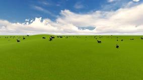 Fondo de la diversión del verano Animales del campo Paisaje rural del verano Ovejas del cordero ilustración del vector
