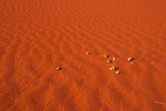 Fondo de la duna del desierto anaranjado, ron del lecho de un río seco fotos de archivo