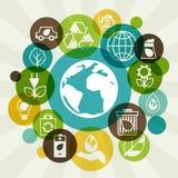 Fondo de la ecología con los iconos del ambiente Fotografía de archivo