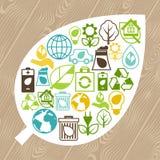 Fondo de la ecología con los iconos del ambiente Imagenes de archivo