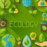 Fondo de la ecología con los iconos del ambiente Foto de archivo libre de regalías